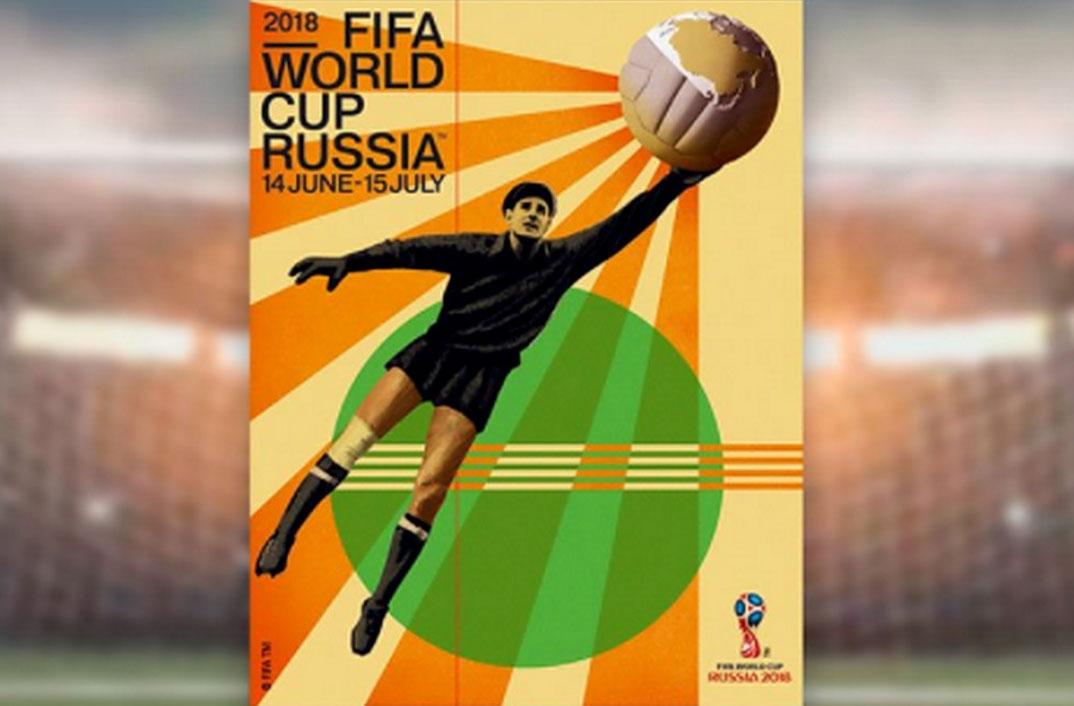 Legendarische doelman Lev Jasjin siert Russische WK-poster in retrostijl