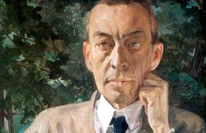Portret van Sergej Rachmaninov door Konstantin Somov, 1925, fragment