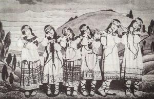 Le Sacre du Printemps, een ballet van Serge Diaghilevs Ballets Russes op muziek van Igor Stravinsky, 1913