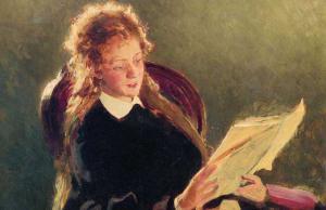 Ilja Repin, Lezend meisje, 1876, fragment