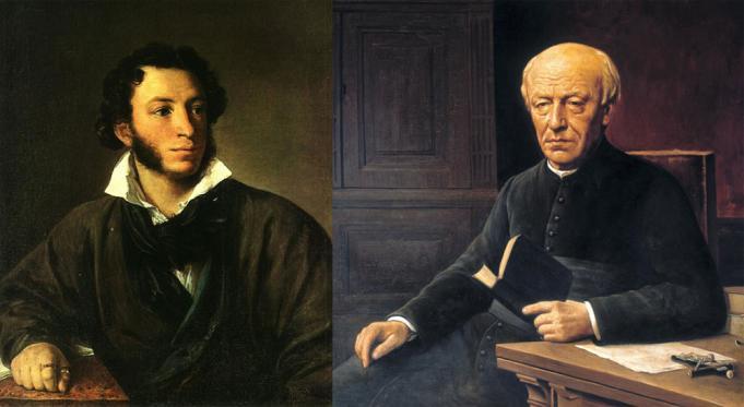Aleksandr Poesjkin door Vasili Tropinin en Guido Gezelle door Hendrik De Graer